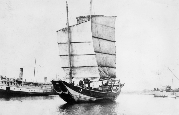 Chinese Junk Amoy arriving_ having crossed Pacific Ocean, Shanghai to Victoria, BC in 87 Days. 1922